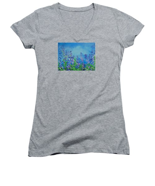 Walk Out Into The Fields Women's V-Neck T-Shirt (Junior Cut) by Dan Whittemore