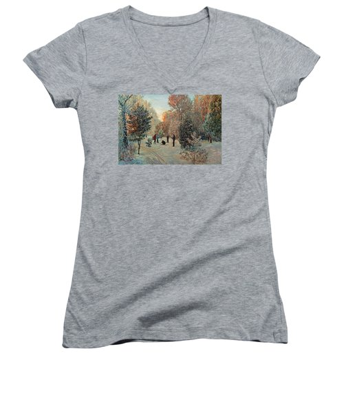 Walk To Skiing In The Winter Park Women's V-Neck T-Shirt