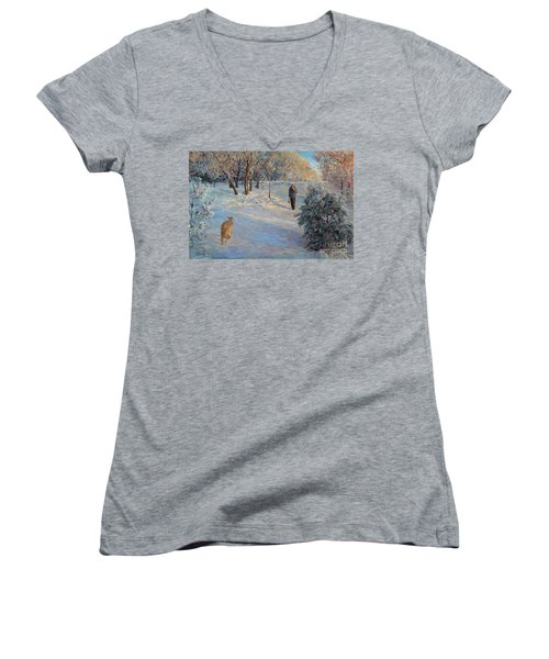 Walking In A Winter Park Women's V-Neck T-Shirt