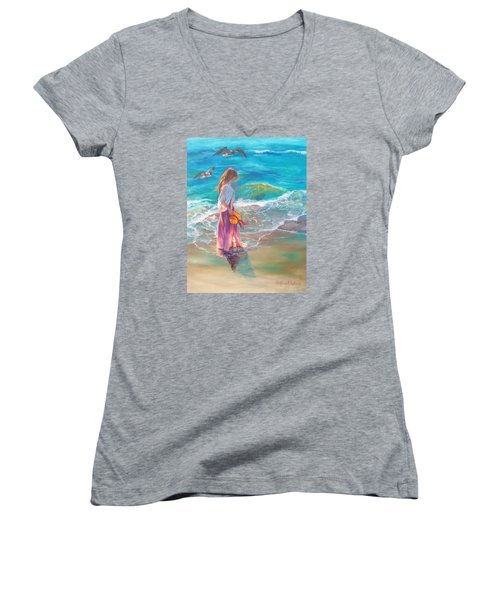 Women's V-Neck T-Shirt (Junior Cut) featuring the painting Walking In The Waves by Karen Kennedy Chatham