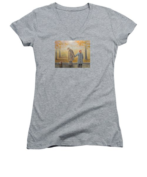 Women's V-Neck T-Shirt (Junior Cut) featuring the painting Walking Miss Daisy by Donna Tucker