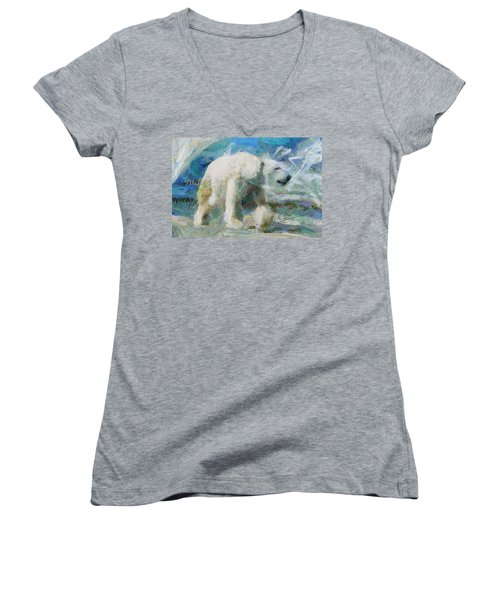 Women's V-Neck T-Shirt (Junior Cut) featuring the painting Cold As Ice by Greg Collins