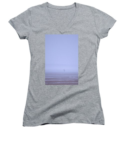 Walking The Dog In The Mist Women's V-Neck (Athletic Fit)