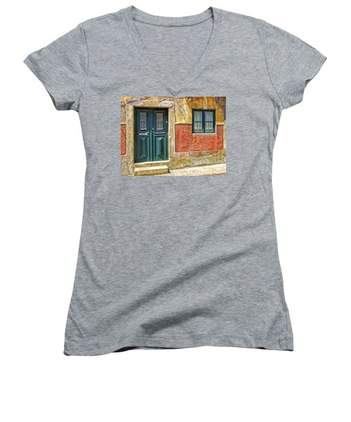 Women's V-Neck T-Shirt (Junior Cut) featuring the painting Walking Through Vila De Conde by Michael Pickett