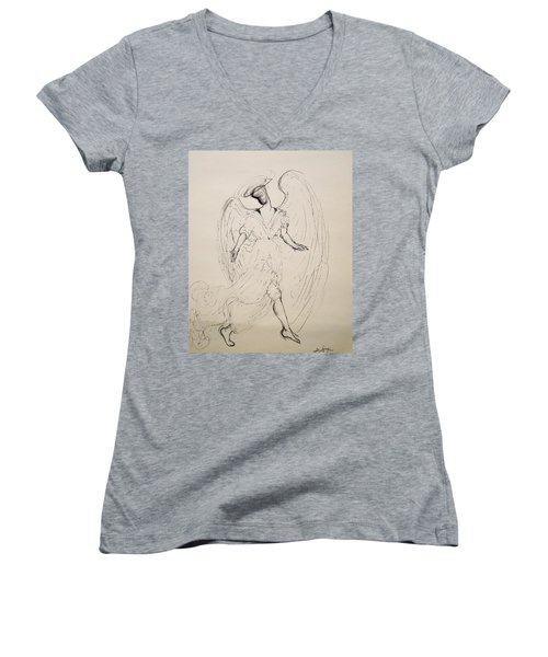 Walking With An Angel Women's V-Neck (Athletic Fit)