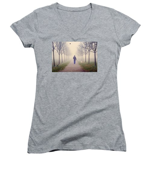 Walking With The Dog Women's V-Neck (Athletic Fit)