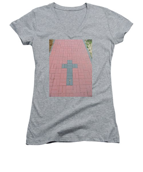 walkway of Faith Women's V-Neck T-Shirt (Junior Cut) by Aaron Martens