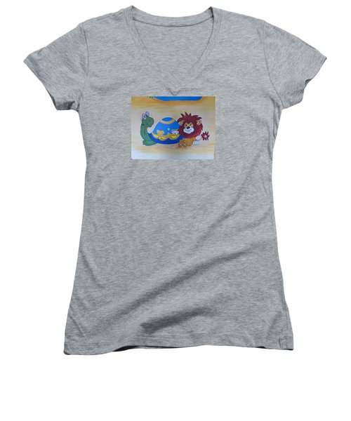 Wall Painting Women's V-Neck T-Shirt