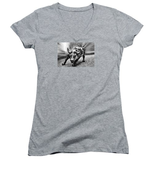 Wall Street Bull Black And White Women's V-Neck T-Shirt (Junior Cut) by Wes and Dotty Weber