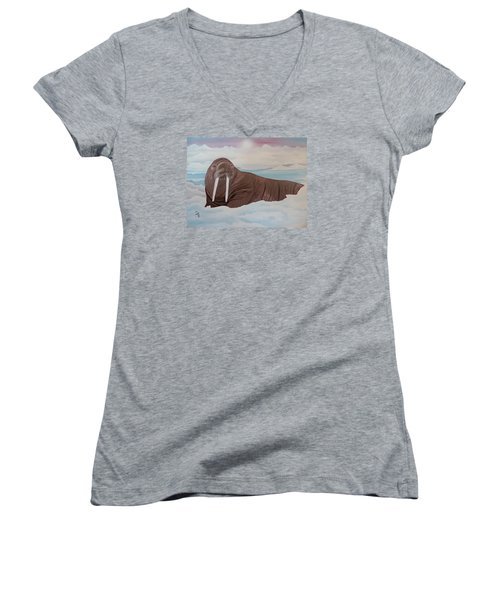 Women's V-Neck T-Shirt (Junior Cut) featuring the painting Walter by Dianna Lewis