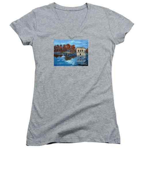 Waltham Reservoir Women's V-Neck T-Shirt (Junior Cut) by Rita Brown