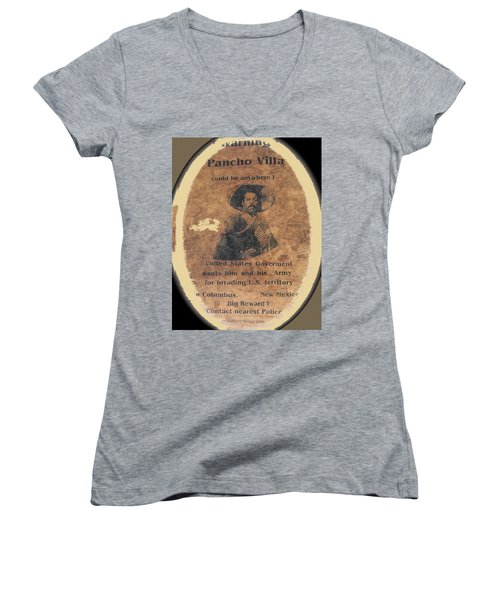 Wanted Poster For Pancho Villa After Columbus New Mexico Raid  Women's V-Neck