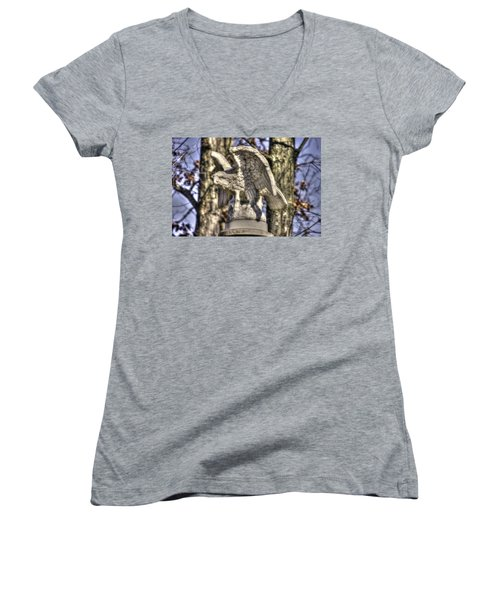 Women's V-Neck T-Shirt (Junior Cut) featuring the photograph War Eagles - Vermont Company F 1st U. S. Sharpshooters-a1 Pitzer Woods Gettysburg by Michael Mazaika