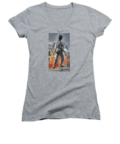 Women's V-Neck T-Shirt (Junior Cut) featuring the photograph War Fighters - 26th Pennsylvania Emergency Militia Infantry-b1 Defending The Town Of Gettysburg by Michael Mazaika