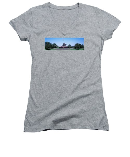 War Memorial With Washington Monument Women's V-Neck T-Shirt (Junior Cut) by Panoramic Images