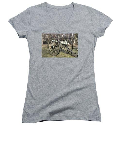 Women's V-Neck T-Shirt (Junior Cut) featuring the photograph War Thunder - 1st New York Light Artillery-c1 Battery D The Wheatfield Late Winter Gettysburg by Michael Mazaika