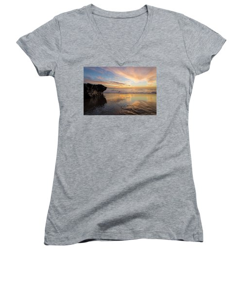 Women's V-Neck featuring the photograph Warm Glow Of Memory by Alex Lapidus