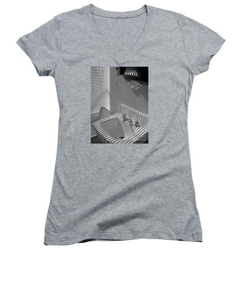 Wash Please Women's V-Neck T-Shirt (Junior Cut) by Ann Horn