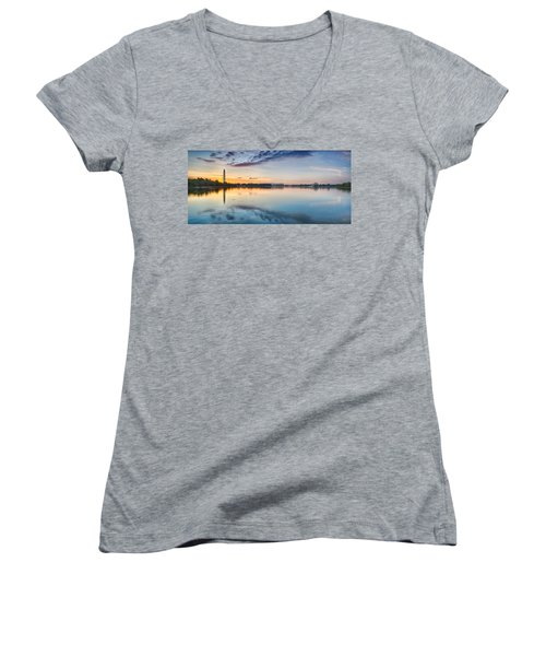 Washington Dc Panorama Women's V-Neck T-Shirt (Junior Cut) by Sebastian Musial