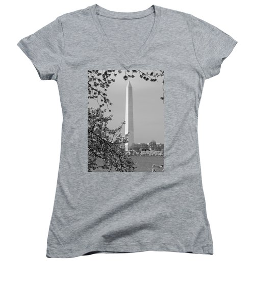 Washington Monument And Cherry Blossoms In April Women's V-Neck