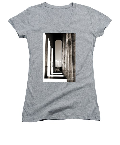 Washington Monument Women's V-Neck T-Shirt (Junior Cut) by Angela DeFrias
