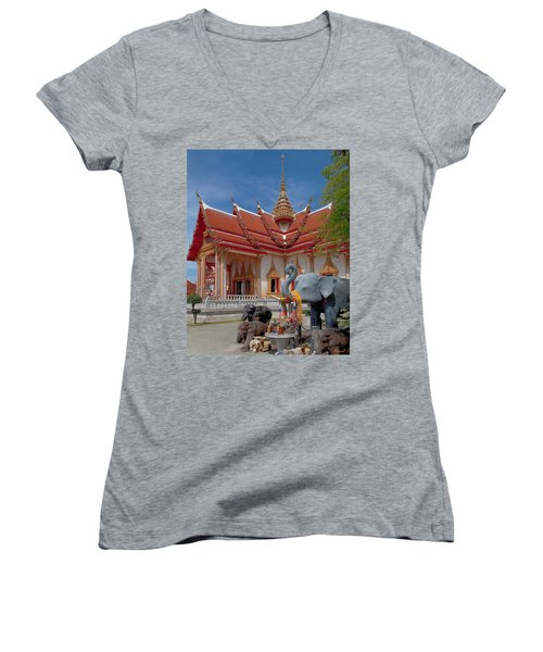 Wat Chalong Wiharn And Elephant Tribute Dthp045 Women's V-Neck