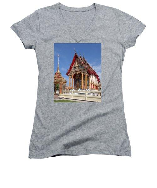 Women's V-Neck T-Shirt (Junior Cut) featuring the photograph Wat Choeng Thalay Ordination Hall Dthp138 by Gerry Gantt