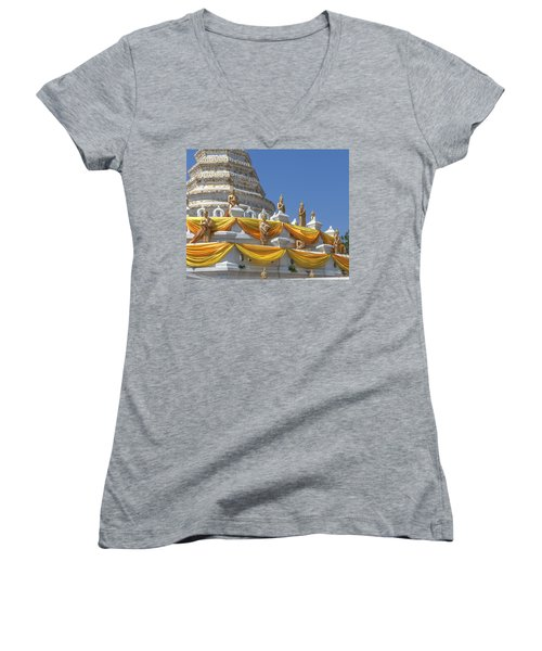 Wat Songtham Phra Chedi Buddha Images Dthb1916 Women's V-Neck