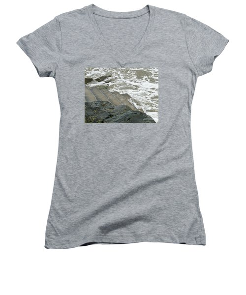 Women's V-Neck T-Shirt (Junior Cut) featuring the photograph Watch Your Step by Brenda Brown