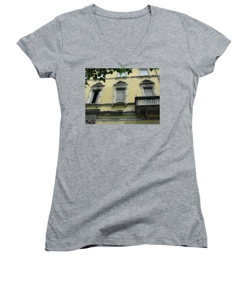 Women's V-Neck T-Shirt (Junior Cut) featuring the photograph Watch Your Step by Natalie Ortiz