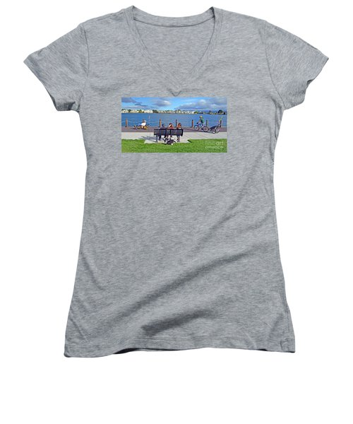 Women's V-Neck T-Shirt (Junior Cut) featuring the photograph Watching The Bikes Go By At Congressman Leo Ryan's Memorial Park by Jim Fitzpatrick