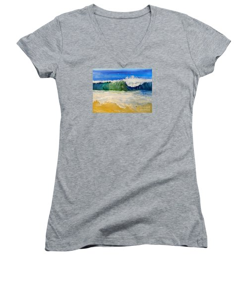 Watching The Wave As Come On The Beach Women's V-Neck T-Shirt (Junior Cut) by Pamela  Meredith