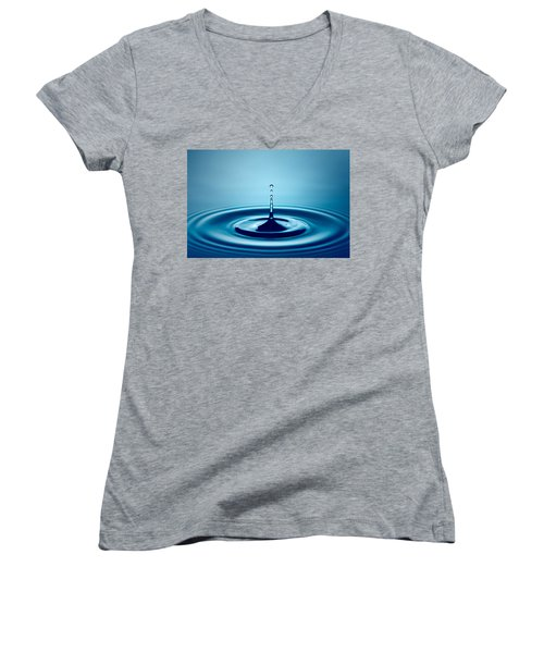 Water Drop Splash Women's V-Neck T-Shirt (Junior Cut) by Johan Swanepoel