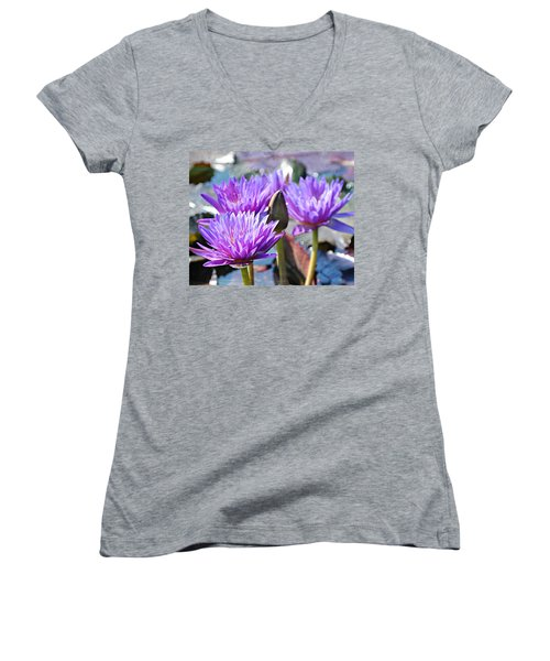 Women's V-Neck T-Shirt (Junior Cut) featuring the photograph Water Flower 1006 by Marty Koch