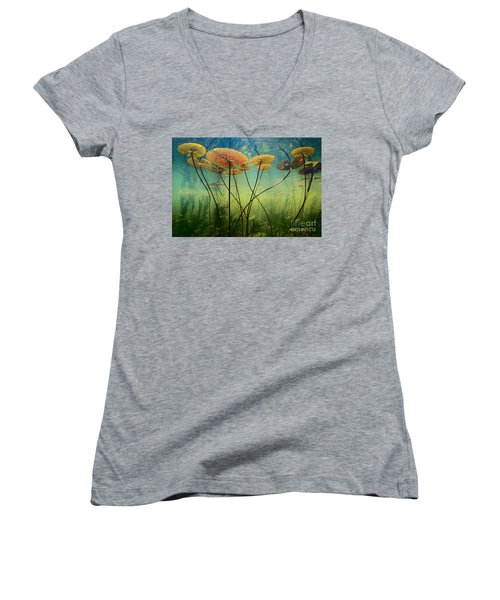 Water Lilies Women's V-Neck (Athletic Fit)