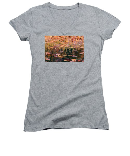 Water Lilies Re Do Women's V-Neck (Athletic Fit)