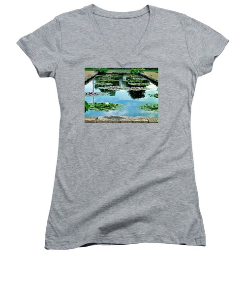 Water Lily Garden Women's V-Neck T-Shirt (Junior Cut) by Zafer Gurel