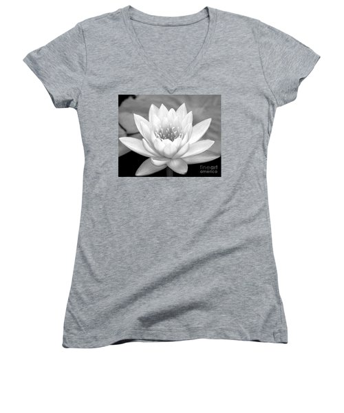 Water Lily In Black And White Women's V-Neck