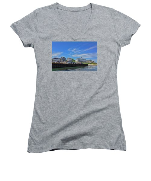 Water Street Block Island Women's V-Neck T-Shirt (Junior Cut) by Todd Breitling