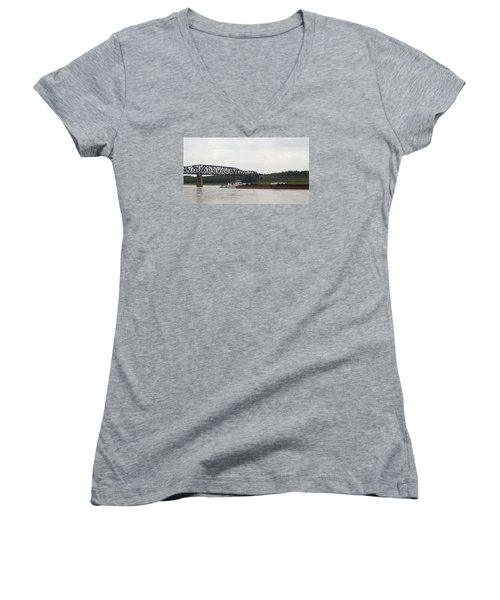 Water Under The Bridge - Towboat On The Mississippi Women's V-Neck T-Shirt