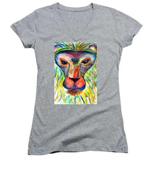 Watercolor Lion Women's V-Neck T-Shirt