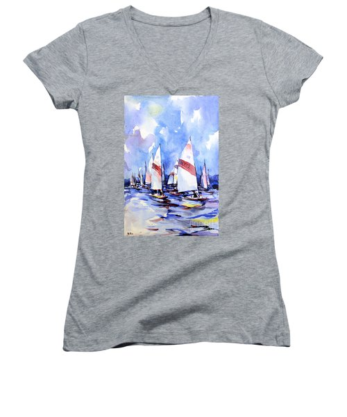Watercolor Of Scow Boats Racing Torch Lake Mi Women's V-Neck (Athletic Fit)