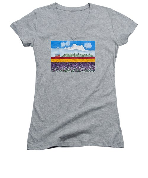 Watercolor Painting Landscape Of Skagit Valley Tulip Fields Art Women's V-Neck T-Shirt