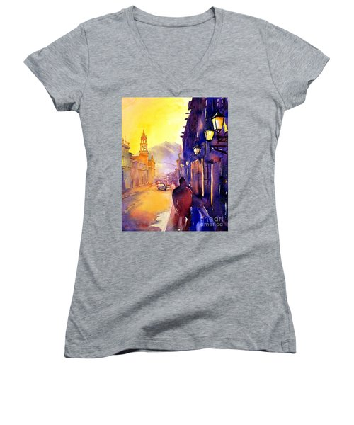 Watercolor Painting Of Street And Church Morelia Mexico Women's V-Neck (Athletic Fit)