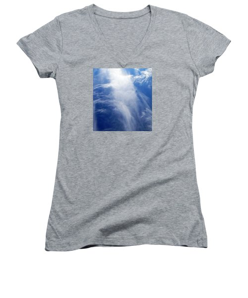 Waterfall In The Sky Women's V-Neck T-Shirt (Junior Cut) by Belinda Lee