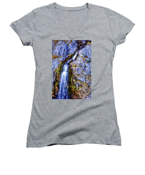 Waterfall-mt Timpanogos Women's V-Neck T-Shirt (Junior Cut) by David Millenheft