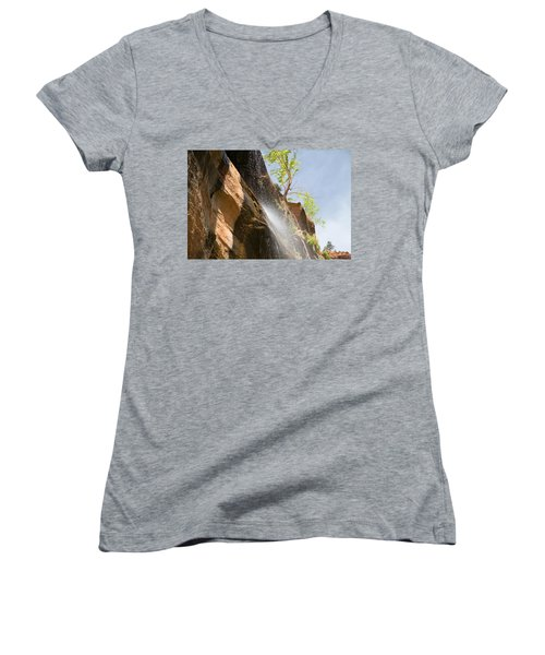 Waterfall Zion National Park Women's V-Neck