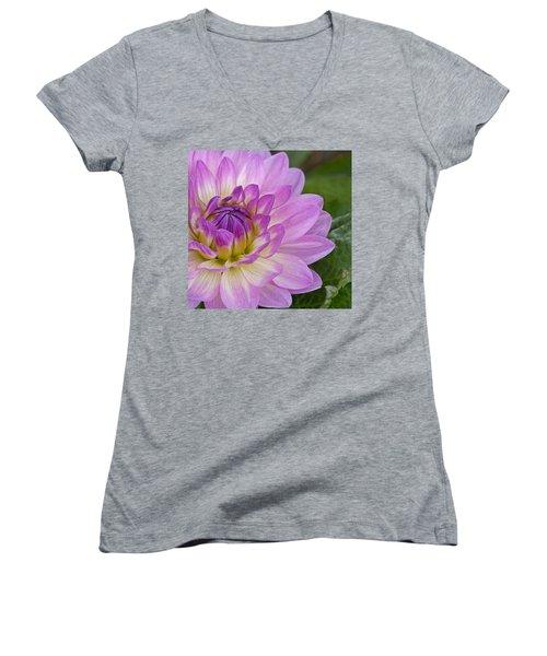 Waterlily Dahlia Women's V-Neck T-Shirt