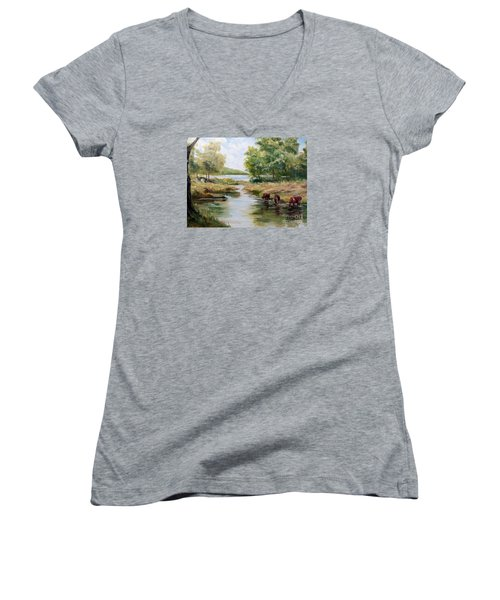Women's V-Neck T-Shirt (Junior Cut) featuring the painting Waterloo by Lee Piper