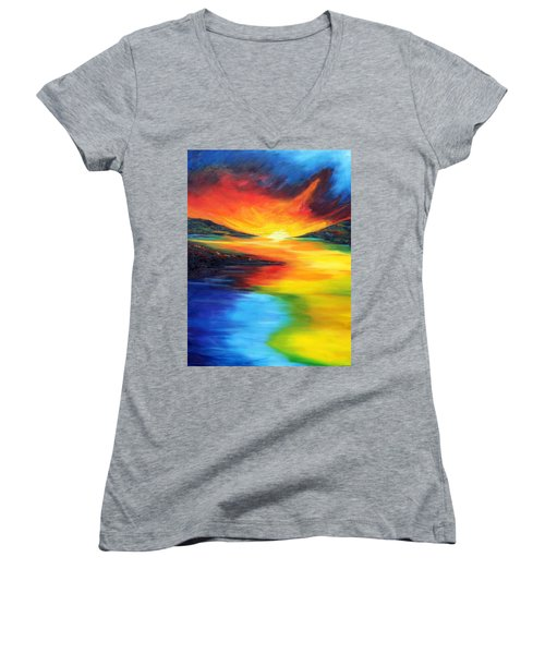 Women's V-Neck T-Shirt (Junior Cut) featuring the painting Waters Of Home by Meaghan Troup
